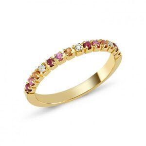 Guldring med rubin, sarif og brillant